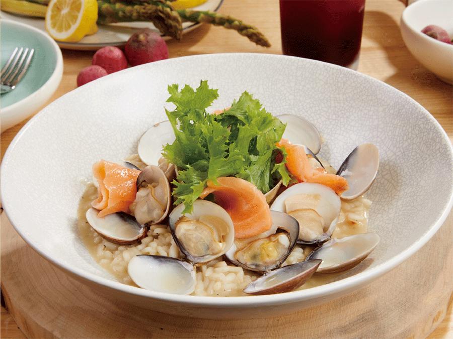 燻鮭魚.蛤蠣.燉飯