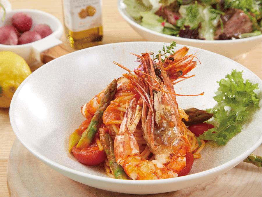 蕃茄醬汁.活大蝦.蘆筍